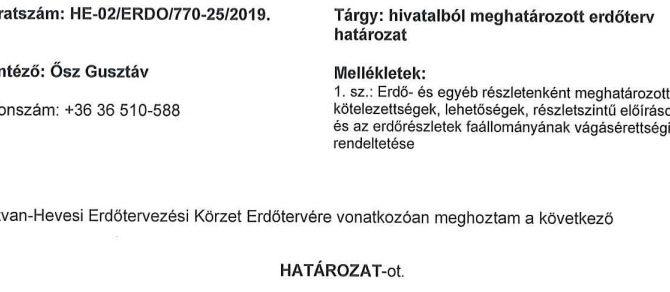 Hatvan-Hevesi erdőtervezési körzet körzeti erdőtervezési eljárásban hozott határozatt