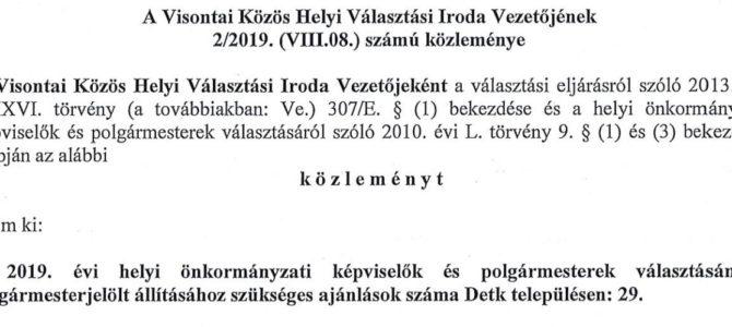 A Visontai közös Helyi Választási Iroda Vezetőjének 2/2019. (VIII.08.) számú közleménye