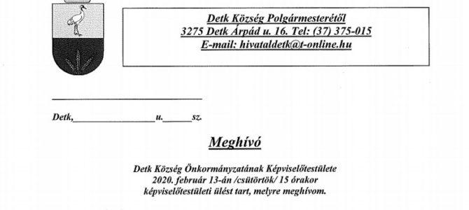 Meghívó képviselő-testületi ülésre 2020.02.13